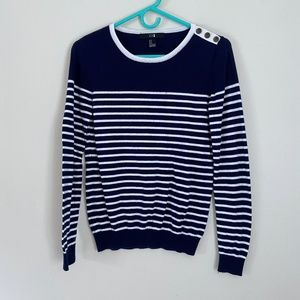 🌵4/$20 Navy Blue and White Striped Crew Neck